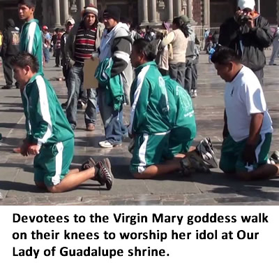 Devotees to the Virgin mary goddess walk on their knees to worship her idol at Our Lady of Guadalpe shrine.