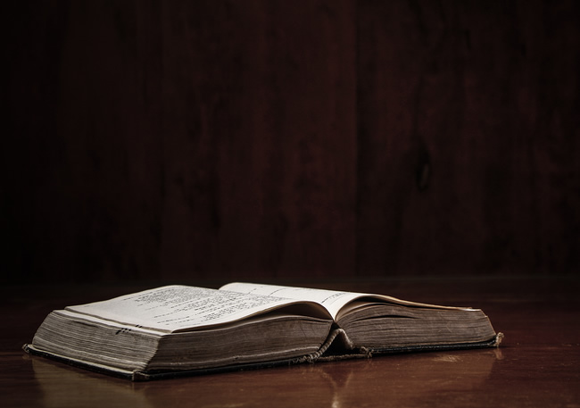 Picture of an open Bible.